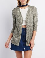 Charlotte Russe Ribbed & Marled Longline Cardigan Sweater
