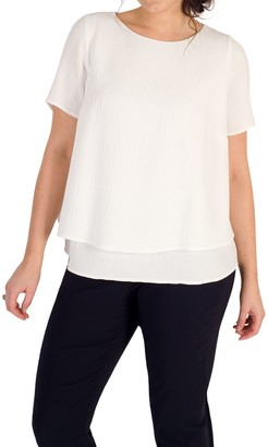 Chesca Layered Jacquard Top, Ivory