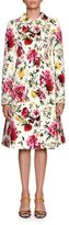 Dolce & Gabbana Floral-Brocade Double-Breasted A-Line Top Coat