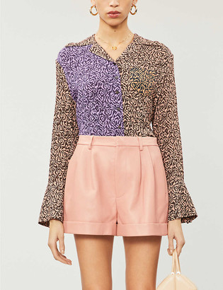 Alice + Olivia Conry high-rise leather shorts