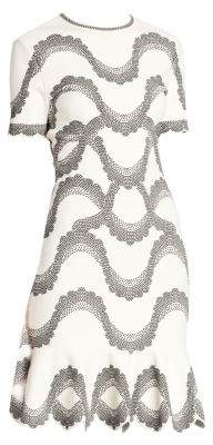 Alexander McQueen Women's Wave Printed A-Line Dress - Ivory Black - Size Small