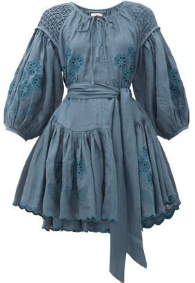 Innika Choo Meg Nettick Embroidered Linen Mini Dress - Dark Blue
