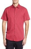 Stone Rose Men's Trim Fit Geo Print Sport Shirt