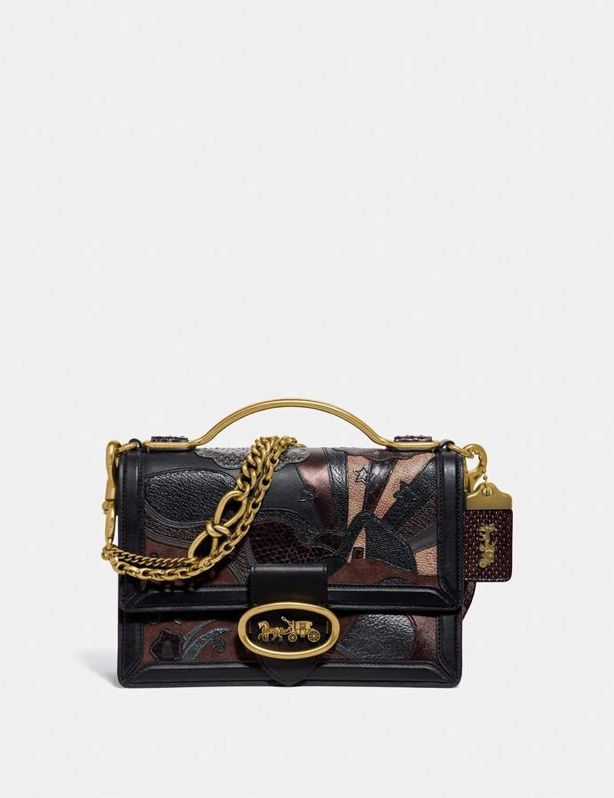Coach Riley Top Handle 22 In Signature Canvas With Starscape Patchwork And Snakeskin Detail