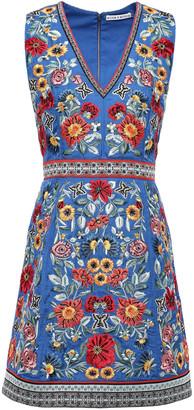 Alice + Olivia Patty Bead-embellished Embroidered Crepe Mini Dress