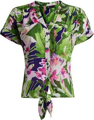 New York & Co. Floral Tie-Front Shirt