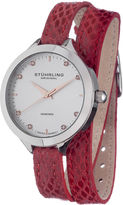 Stuhrling Original Sthrling Original Womens Diamond-Accent Red Leather Wrap Watch