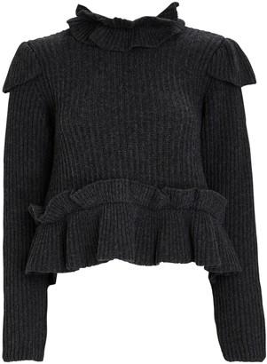 Ganni Ruffled High Neck Sweater