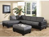 Venetian Worldwide Dallin Sectional Sofa with Left Ottoman in Gray Microfiber