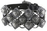 Versace Chain Mail Medusa Motif Leather Bracelet