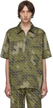 Burberry Khaki Monogram Print Short Sleeve Shirt