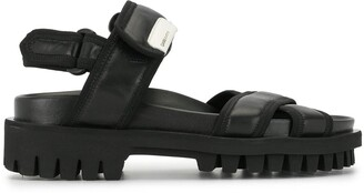 Ganni Cross-Strap Leather Sandals