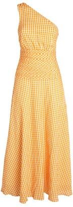 Peony Swimwear One-Shoulder Gingham Dress