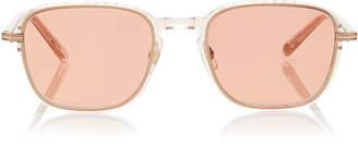 Garrett Leight Pier 50 Square-Frame Rose Gold-Tone Glass Sunglasses
