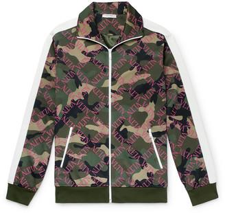 Valentino Slim-Fit Logo and Camouflage-Print Satin-Jersey Track Jacket - Men - Green