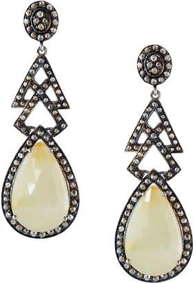 Bavna Yellow Sapphire Teardrop Earrings w/ Diamonds
