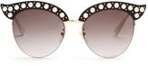 Gucci Cat-eye pearl-embellished metal sunglasses