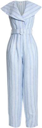 Gül Hürgel Fressia Belted Striped Linen Jumpsuit