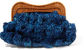 Kayu Monaco Rattan-trimmed Straw Clutch - Blue
