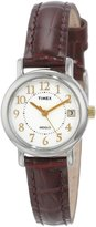 Timex Women's T2N3369J Classic Analog Silver Case Leather Strap Dress Watch