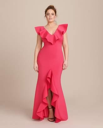 Badgley Mischka Scuba Ruffle Gown