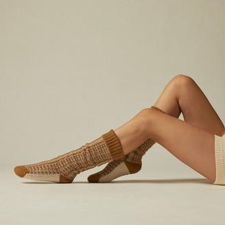 Indigo Verbena Reading Socks Golden Rod