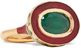 Alice Cicolini - Jodhpur Miniature Leaf 22-karat Gold, Emerald And Enamel Ring - 6