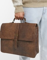 Asos Design DESIGN smart satchel in vintage tan faux leather