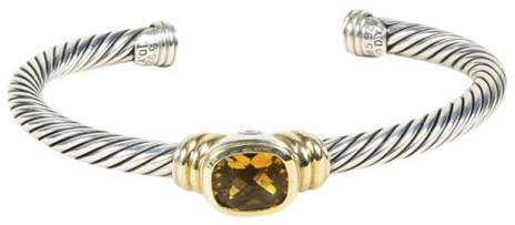 David Yurman 925 Sterling Silver & 14K Yellow Gold with Citrine Cable Cuff Bracelet