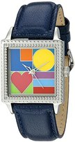 "Proenza Schouler The Collection by Arjang and Co. Women's 2008S-BL ""Mod Love"" Stainless Steel Square Enamel Dial Blue Leather Strap Watch"