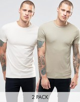 Asos 2 Pack Muscle T-Shirt With Crew Neck In Cream/Beige