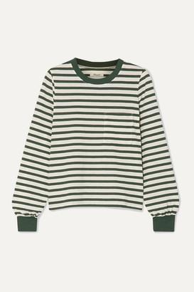 Madewell Caressa Striped Cotton-blend Jersey Top - Dark green
