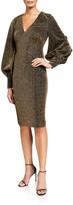 Badgley Mischka Metallic Shimmer Knit V-Neck Poet-Sleeve Dress
