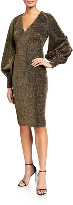 Badgley Mischka Metallic Shimmer Knit V-Neck Poet-Sleeve Dress