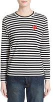 Comme des Garcons Women's 'Play' Stripe Cotton Tee