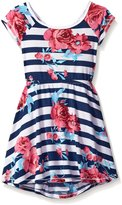 T2 Love T2Love Little Girls' Rose Print Tie Back Skater Dress