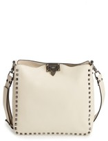 Valentino Small Rockstud Leather Hobo - Ivory