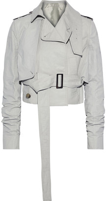Rick Owens Belted Layered Waxed Linen-blend Twill Jacket