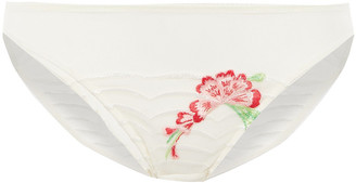 Wacoal Embroidered Stretch-tulle Mid-rise Briefs