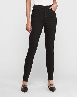 Express Super High Waisted Denim Perfect Button Fly Ankle Leggings