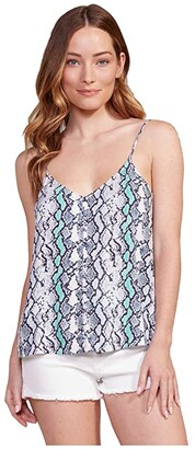 BB Dakota Tie-Dye Python Printed Rayon Dobby Cami (Deep Ocean) Women's Clothing