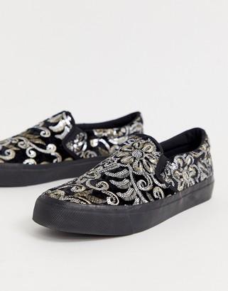 Asos Design DESIGN slip on trainers in black sequin floral