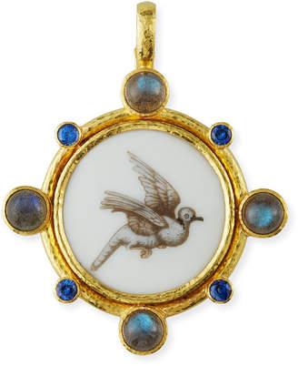 Elizabeth Locke 19k Antiqued Porcelain Dove Pendant
