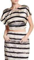 KENDALL + KYLIE Kendall & Kylie Short Sleeve Print Open Back Silk Crop Top