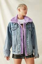 Urban Renewal Vintage Recycled Faux Fur Trimmed Denim Jacket