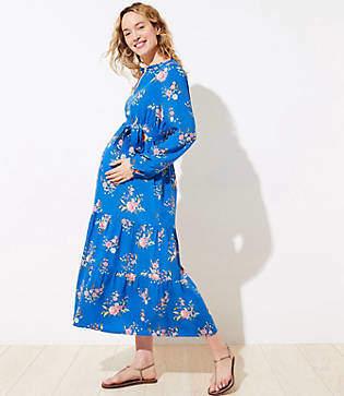 LOFT Petite Maternity Floral Tiered Maxi Dress