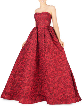 Mac Duggal Strapless Embossed Metallic Brocade Ball Gown