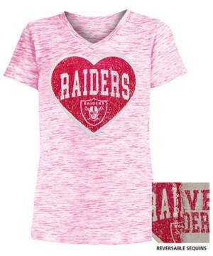 5th & Ocean Big Girls Oakland Raiders Heart Flip Sequin T-Shirt