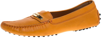 Tod's Orange Leather Penny Loafers Size 38.5