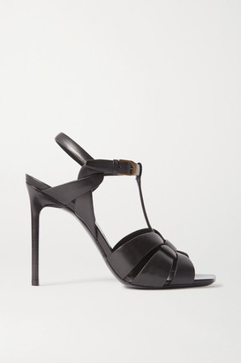 Saint Laurent Tribute Woven Leather Sandals - Black